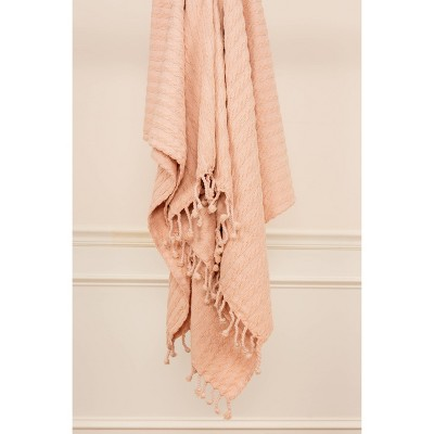 "50""x60"" Textured Striped Throw Blanket Blush - Rizzy Home"