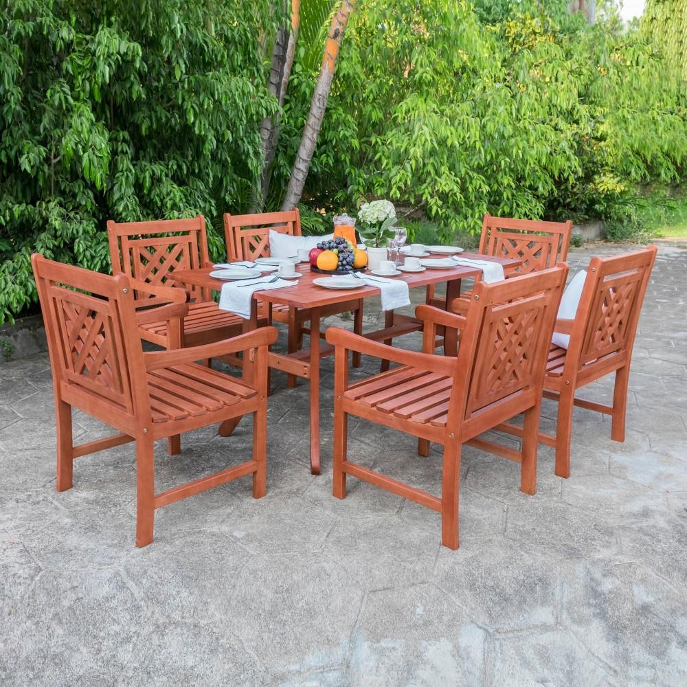 Malibu 7pc Wood Outdoor Patio Dining Set - Tan - Vifah