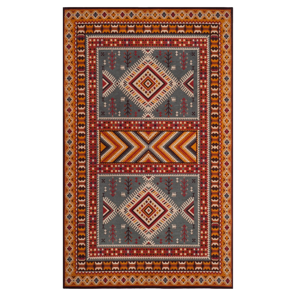 Slate/Mustard (Grey/Yellow) Tribal Design Loomed Area Rug 5'X8' - Safavieh