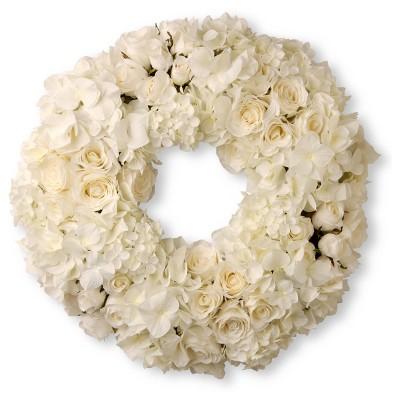 """18"""" White Roses & Hydrangeas Wreath - National Tree Company"""