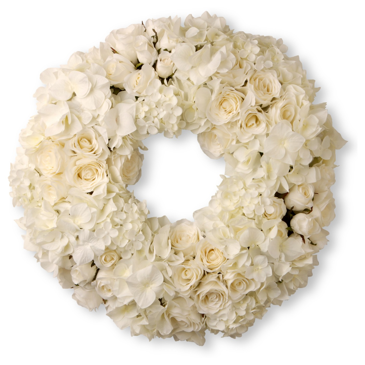 "18"" White Roses & Hydrangeas Wreath - National Tree Company - image 1 of 1"