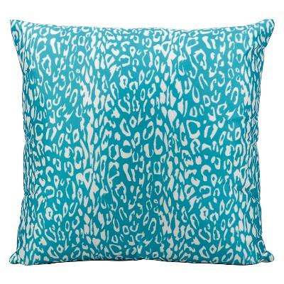 Turquoise Leopard Indoor/Outdoor Throw Pillow (20 x20 )- Nourison
