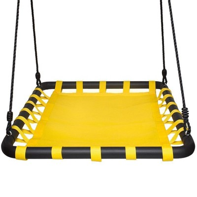Swinging Monkey Giant 40 Inch Long x 30 Inch Wide 400 Pound Weight Capacity Square Mat Platform Outdoor Play Swing, Yellow