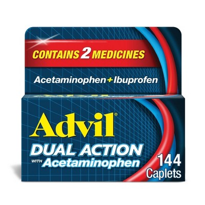 Advil Dual Action with Acetaminophen combination of 250mg Ibuprofen and 500mg Acetaminophen Coated Caplets
