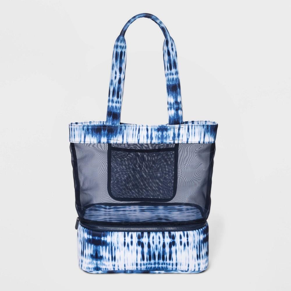 Magnetic Closure Tie-Dye Mesh Tote Handbag - Shade & Shore Blue