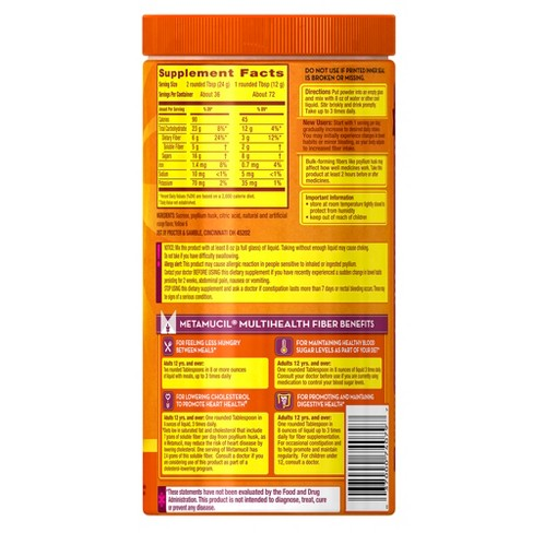 Metamucil Psyllium Fiber Supplement With Sugar Powder Orange