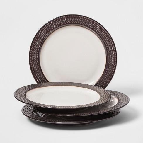 Barnet Bronze Dinnerware Glazed Threshold Durable Stoneware Dishes Set 16 Piece