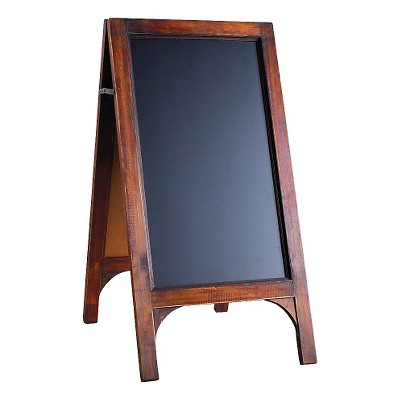 A&B Home Wood Frame Double Sided Black Board Stand Stained Wood With Blackboard