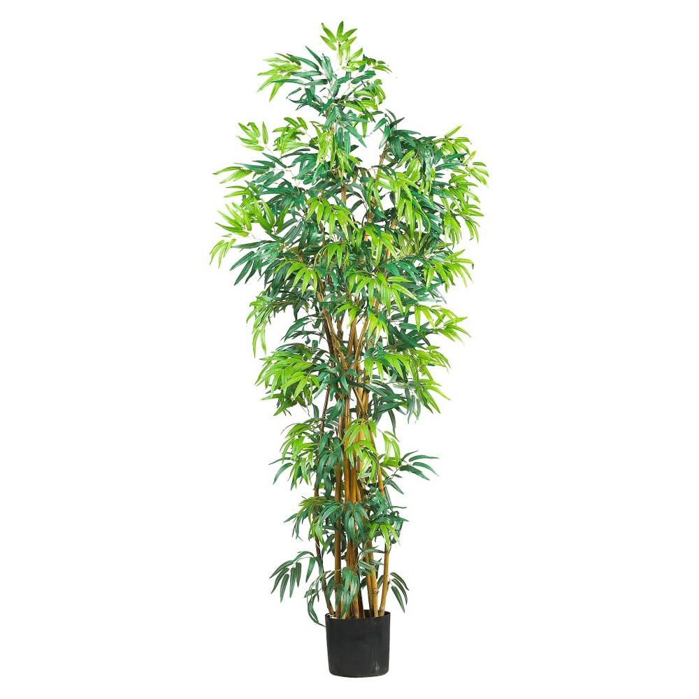 Nearly Natural 6' Curved Bamboo Silk Tree, Green/Brown
