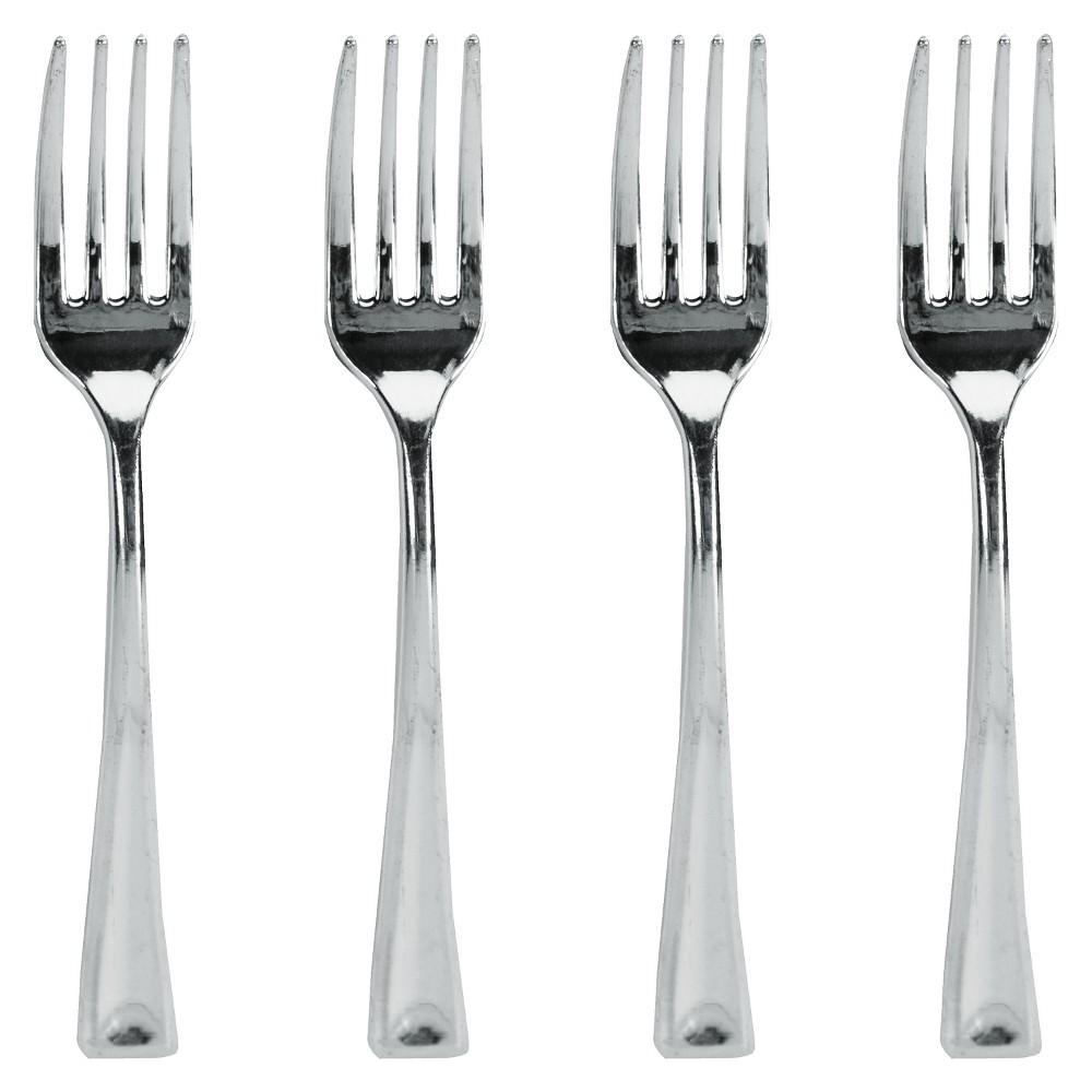 24ct Metallic Mini Forks, Silver