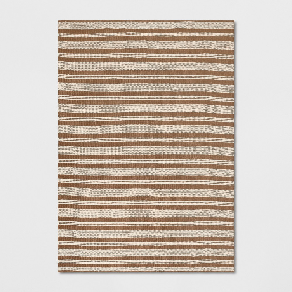 7'X10' Stripe Woven Area Rugs Light Off-White (Beige) - Threshold