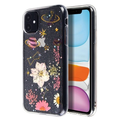 Insten Floral & Space Case For iPhone 11 (6.1 inch), Glitter Crystal Pressed Dried Real Flowers Soft TPU Cover, Planet & Daisy
