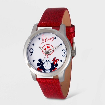 Women's Disney Mickey and Minnie Mouse Glitter Strap Watch - Red