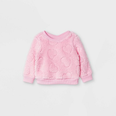 Baby Girls' Sparkle Heart Shirt Jacket - Cat & Jack™ Pink 6-9M
