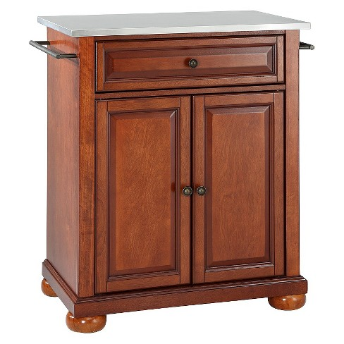 Alexandria Stainless Steel Top Portable Kitchen Island - Classic Cherry -  Crosley