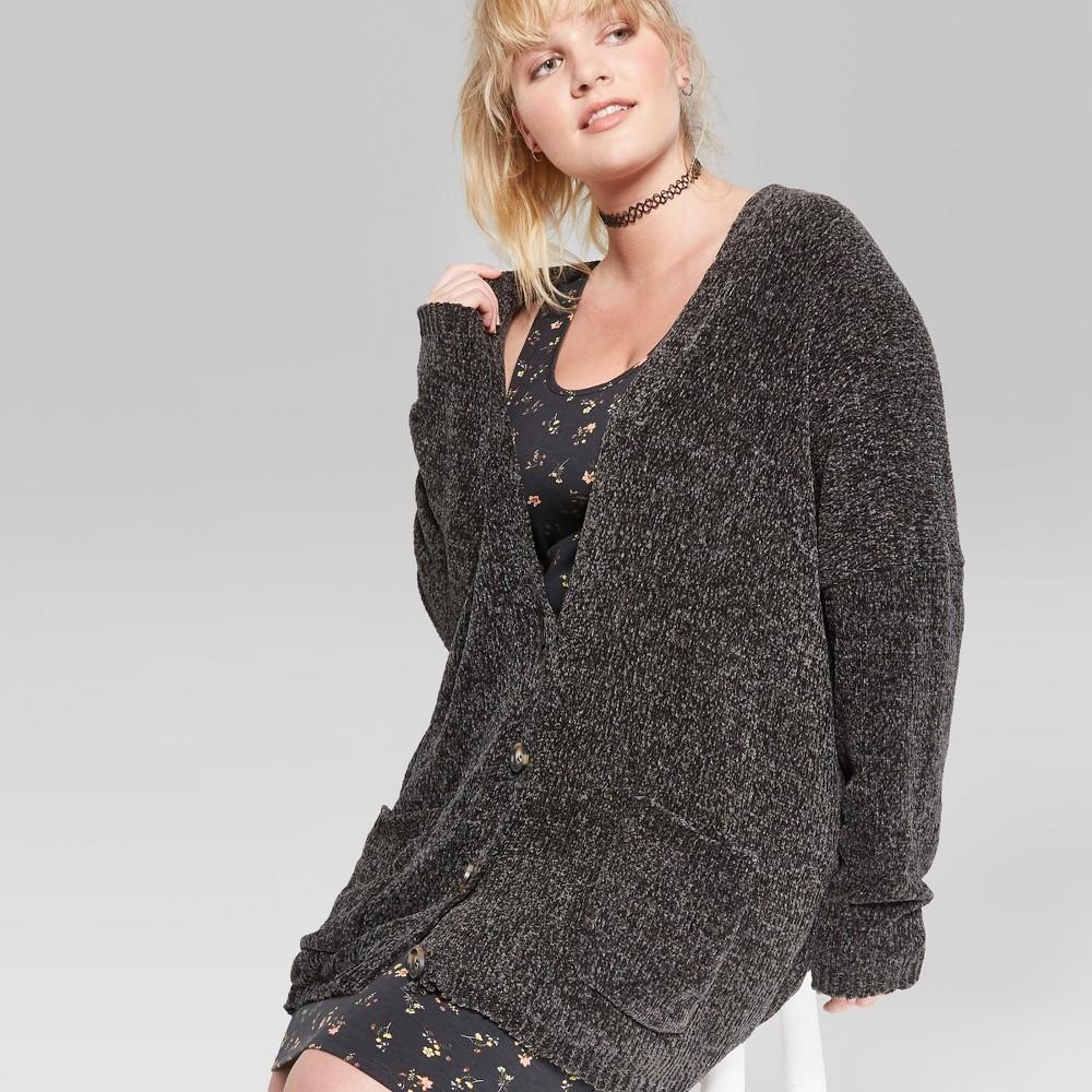 Women's Plus Size Oversized Chenille Button-Front Cardigan - Wild Fable Jet Black 3X