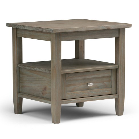 20 Norfolk Solid Wood End Table Distressed Gray Wyndenhall
