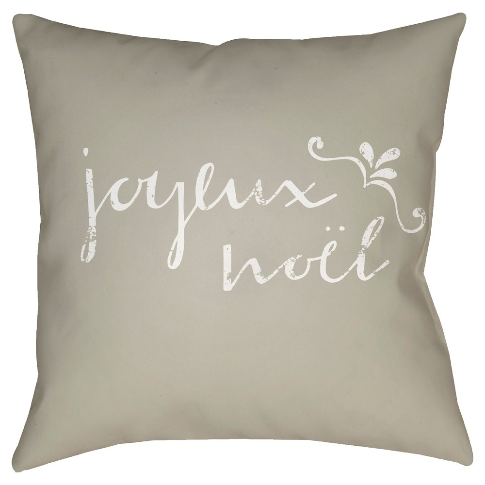 Beige Joyeux Noel Throw Pillow 18