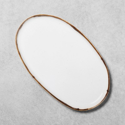 Reactive Glaze Stoneware Large Oval Serve Tray Light Sour Cream - Hearth & Hand™ with Magnolia