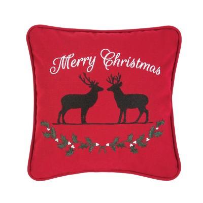 """C&F Home 10"""" x 10"""" Deer Garland Christmas Pillow"""