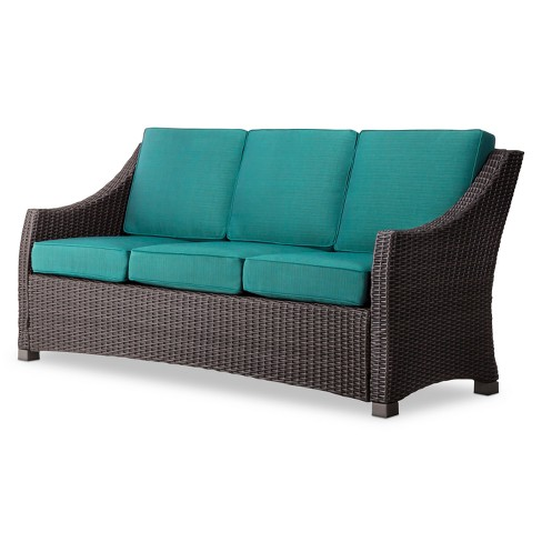 Belvedere Wicker Patio 3 Person Sofa Threshold