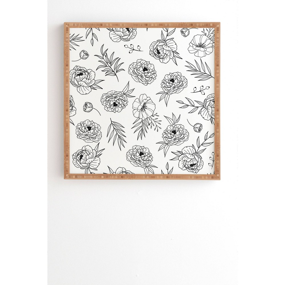 "Image of ""12"""" x 12"""" Emanuela Carratoni Floral Line Art Framed Wall Art Black - Deny Designs, Size: 12""""x12"""""""