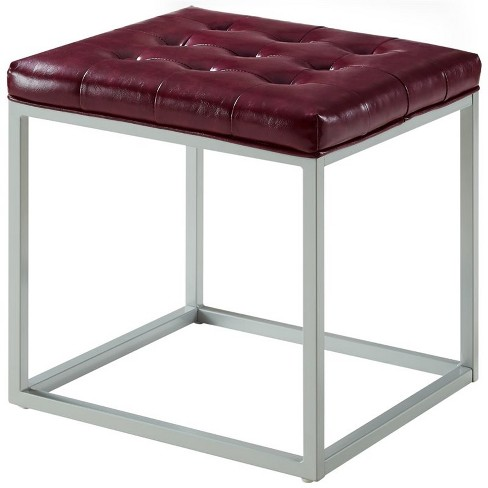 Nolan Purple Cube Ottoman - PU Leather - Button Tufted - Metal Frame in Purple - Posh Living - image 1 of 3