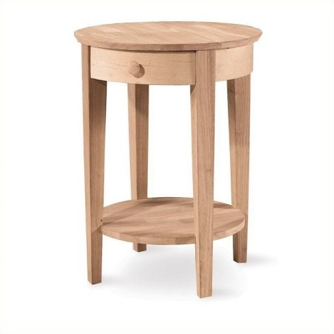 Wood Unfinished Accent Table with One Drawer in Brown-Pemberly Row - image 1 of 1