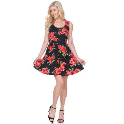 Women's Floral Sleeveless Crystal Dress - White Mark