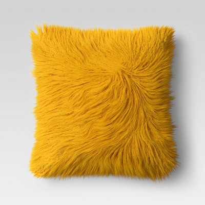 24  x 24  Faux Fur Euro Throw Pillow Yellow - Opalhouse™