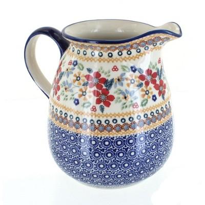 Blue Rose Polish Pottery Red Daisy Pitcher