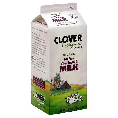 Clover Organic Farms Skim Milk - 0.5gal