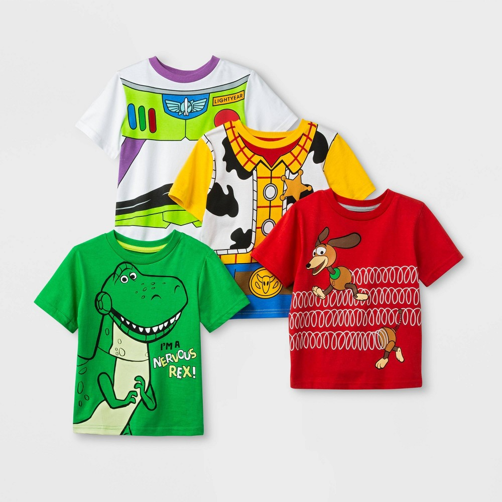 Toddler Boys' Disney Toy Story 4pk Short Sleeve T-Shirts - Red/Green 5T, Multicolored