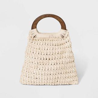Macrame Tote Handbag - Universal Thread™ - Light Off White