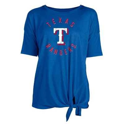 MLB Texas Rangers Women's Poly Rayon Front Knot T-Shirt