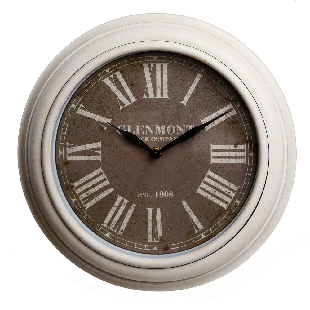"Image of ""12""""x12"""" Traditional White Wash Roman Numeral Wall Clock Bronze - Patton Wall Decor, Yellow"""