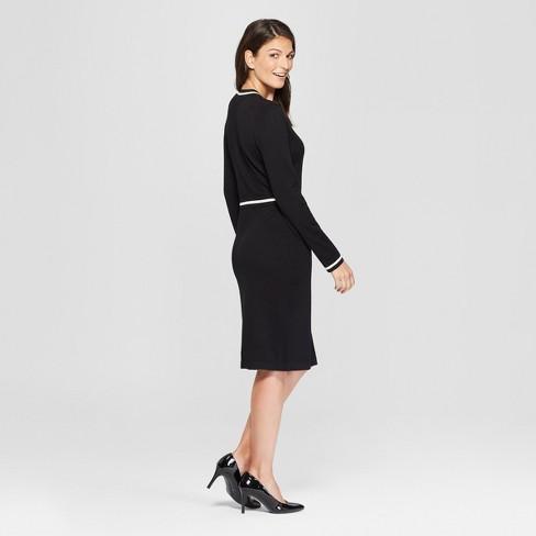 fad3ef432bf Women s Contrast Wrap Sweater Dress - Spenser Jeremy - Black White   Target