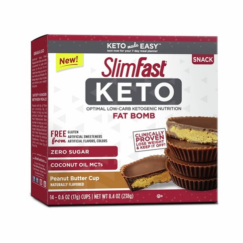 SlimFast Keto Fat Bomb Peanut Butter Cup - 14ct - image 1 of 2