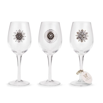DEMDACO Embellished Wine Glasses - 3 Assorted 5 inch - Silver