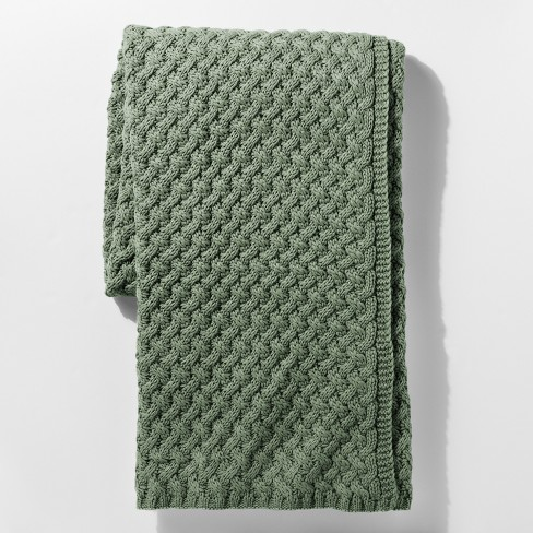 Green Sweater Knit Throw Blanket Threshold Target