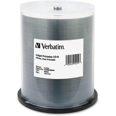Verbatim CD-R 700MB 52X White Inkjet Printable, Hub Printable - 100pk Spindle - Printable - Inkjet Printable