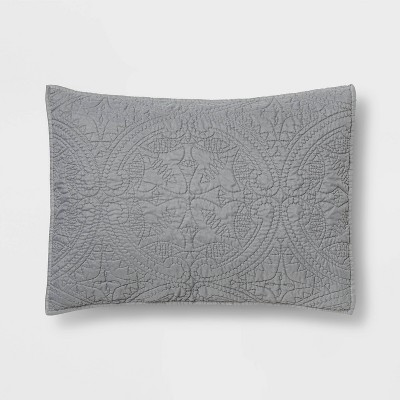 King Medallion Stitch Pillow Sham Gray - Opalhouse™