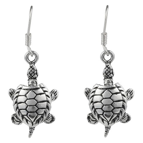 Women's Journee Collection Sterling Silver Detailed Turtle Dangle Earrings - Silver - image 1 of 2