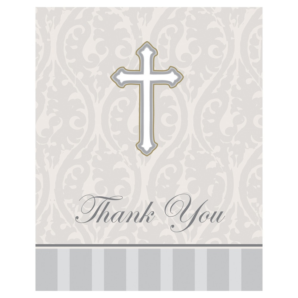 8ct Baptism White Thank You Cards