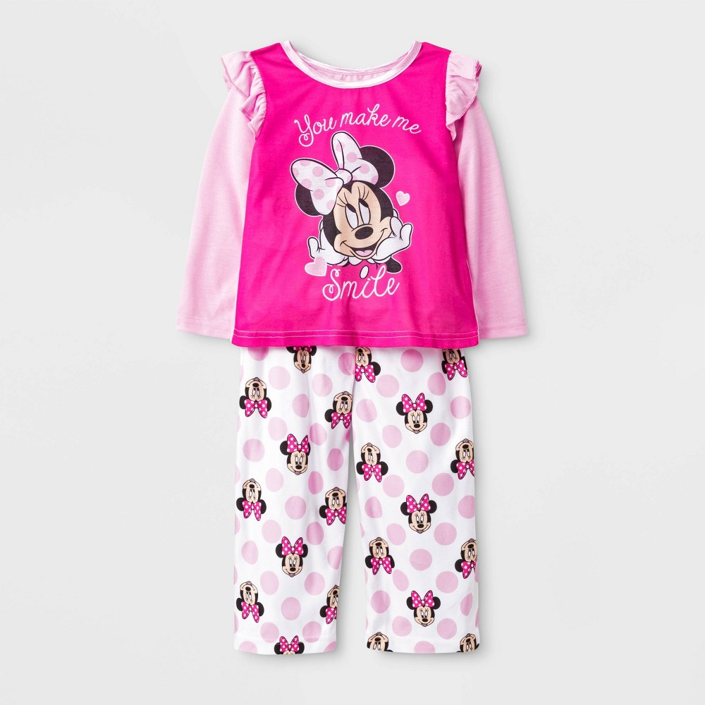 Image of Toddler Girls' 2pc Minnie Mouse Poly Pajama Set - Pink 4T, Girl's