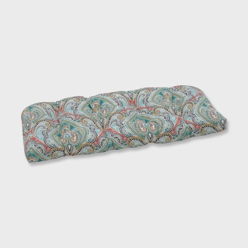 Pretty Witty Reef Wicker Outdoor Loveseat Cushion Blue - Pillow Perfect - image 1 of 1