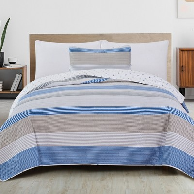 Great Bay Home Wide Striped Reversible Quilt Set