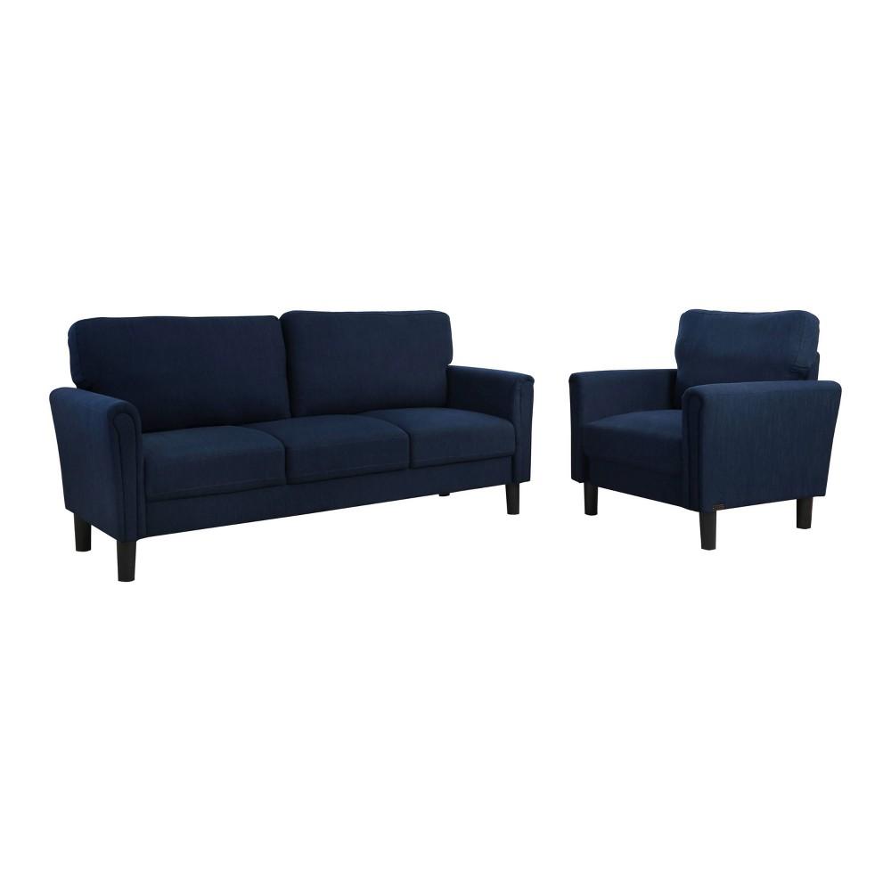 Image of 2pc Kason Fabric Sofa & Armchair Set Navy - Abbyson Living, Blue