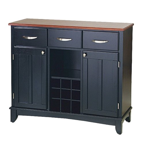 Hutch-Style Buffet Wood/Black/Cherry - Home Styles