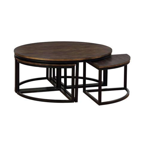 42 Arcadia Acacia Wood Round Coffee Table With Nesting Tables Dark Brown Alaterre Furniture Target